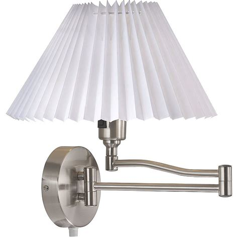 pleated shade swing arm wall light