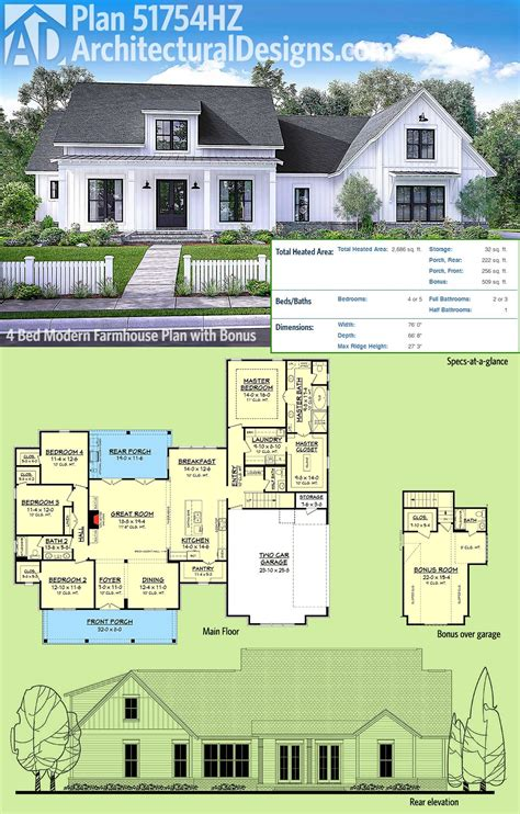 best farmhouse plans plan 51754hz modern farmhouse plan with bonus room