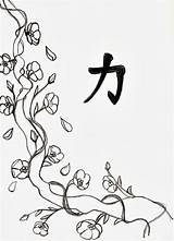 Blossom Cherry Coloring Drawing Line Tree Flowers Flower Printable Blossoms Drawings Tattoo Adults Draw Adult Japanese Colouring Trees Japan Cherries sketch template