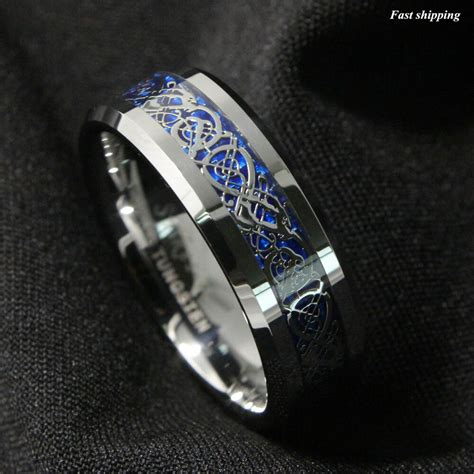 necklace for mens wedding ring 8mm silvering celtic tungsten carbide ring mens jewelry wedding band ebay