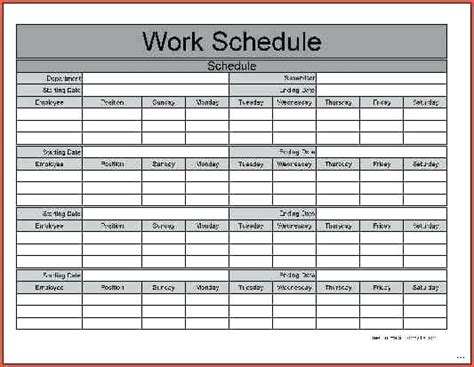 monthly work schedule spreadsheet samplebusinessresume