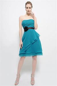 sashes beach wedding party dress turquoise short chiffon With robe de cocktail courte pour mariage