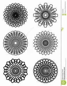 A Set Of Circle Lace Patterns In White And Black Stock ...