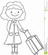Coloring Lady Luggage Signora Pagina Colorare Bagagli Coloritura Dei Colouring Useful Bagage Kleurende Dame Een Illustrazione Cartoon Bambino sketch template