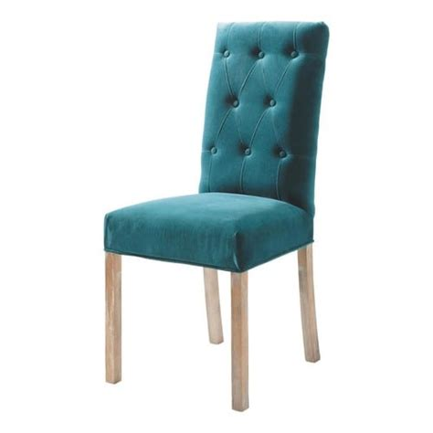 chaise bleu canard chaise capitonnée en velours et bois bleu canard elizabeth