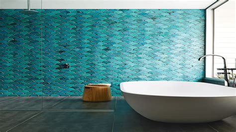 bathroom navy  turquoise fish wallcovering pictures decorations inspiration  models