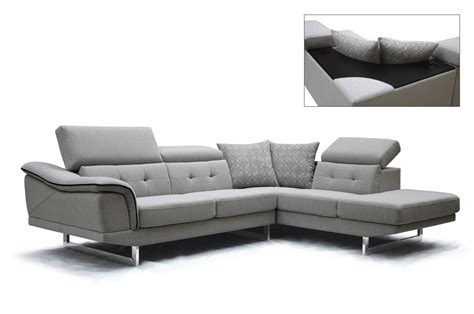 Gray Contemporary Sofa by Modern Adjustable Headrests Grey Fabric Sectional Sofa