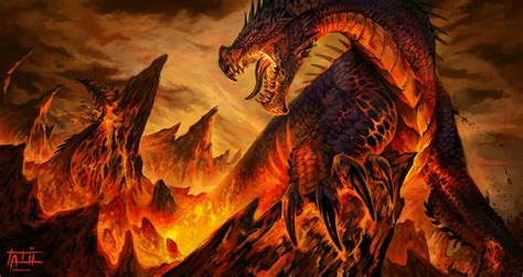 dragon fantasy art lava hd wallpapers desktop