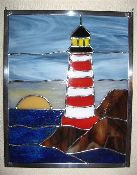 stained glass lighthouse l lighthouse at sunset stained glass panel