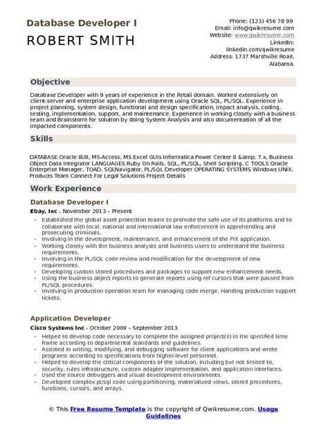 Exles Of Skills On Resume by Database Developer Resume Sles Qwikresume
