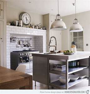 15 distinct kitchen island lighting ideas home design lover With kitchen colors with white cabinets with art nouveau wall clock