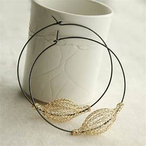 Extra Large Gold And Silver Hoops   Gold Pod Bead On Oxidized Hoop   Wire Crochet Jewelry