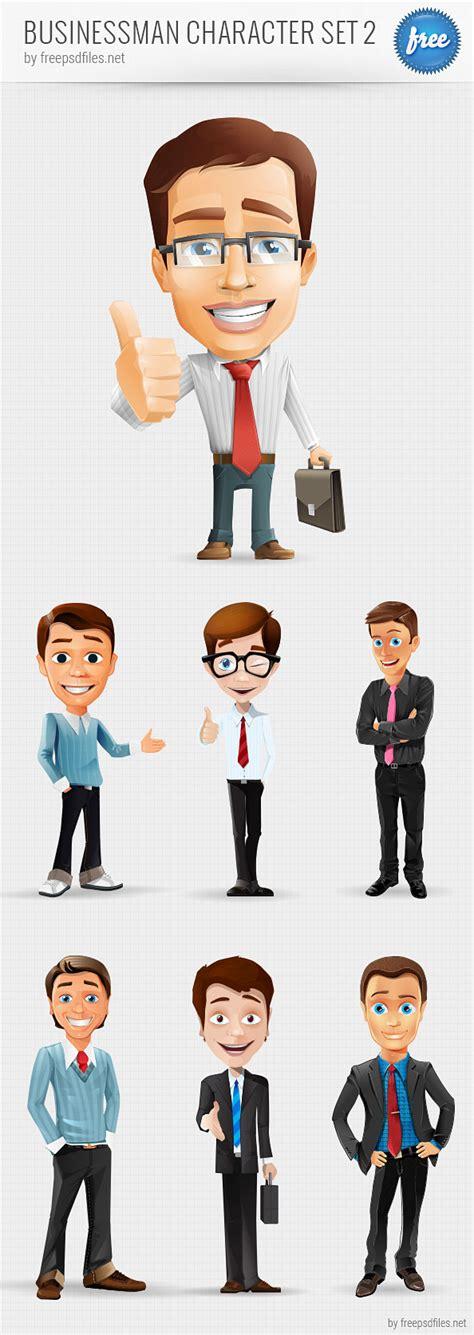 businessman vector character set   psd files