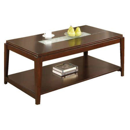 The structure can also come in ashwood in different colours and it has a rectangular or square materials and finishes structure: Steve Silver Ice Rectangle Cherry Wood Coffee Table with Cracked Glass Insert - Walmart.com