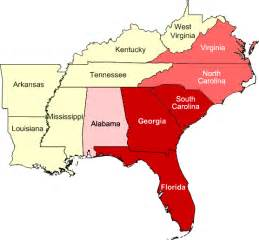Southeast Region States and Capitals Map