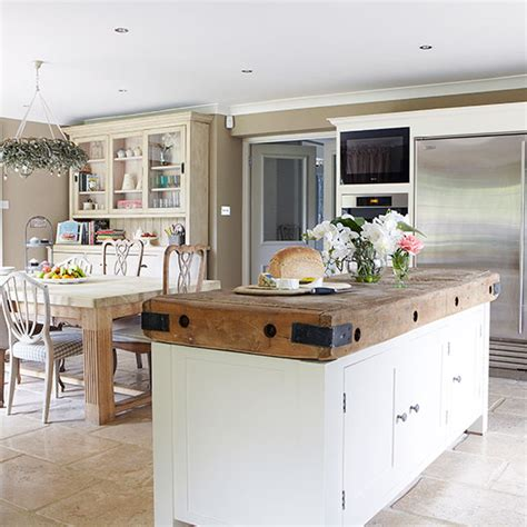 Country Kitchen With Large Butcher's Block Island
