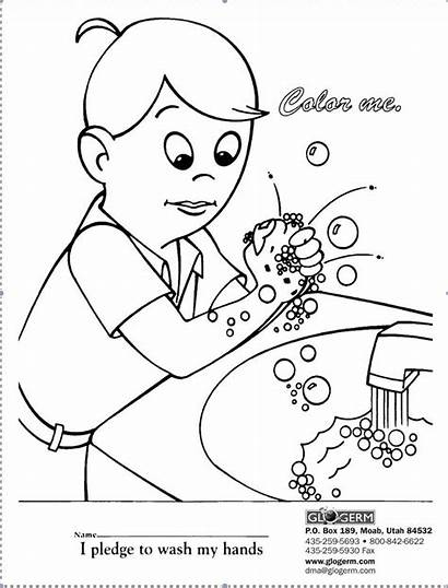 Washing Coloring Hand Pages Printable Germ Worksheets