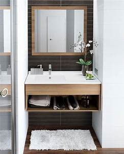 idee decoration salle de bain meuble salle bain bois With salle de bain design avec mug décoré photo