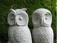 owl garden statue Owls Cast Stone Garden Owl Statues Two Concrete Owls Pair