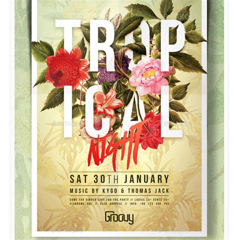 Tropical Poster Template by Flyer For Tropical Party Nights Dise 241 O Gr 225 Fico