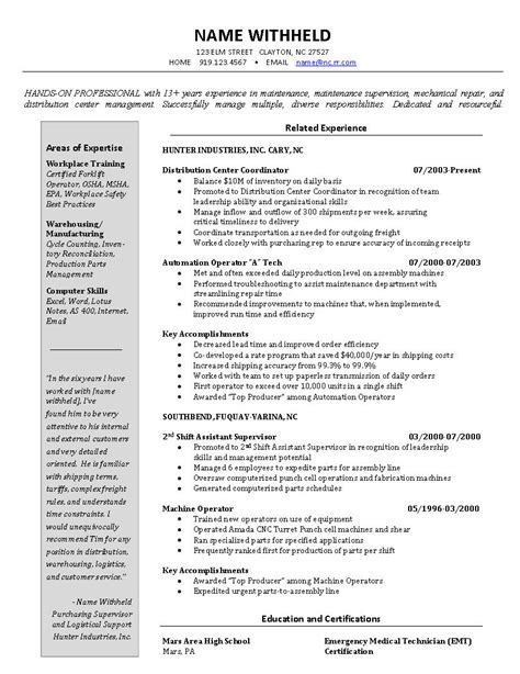 inventory manager and logistics resume exle