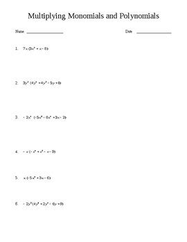 multiplying monomials and polynomials worksheet by finds for teachers
