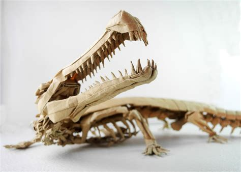highly detailed origami dinosaurs  dragons