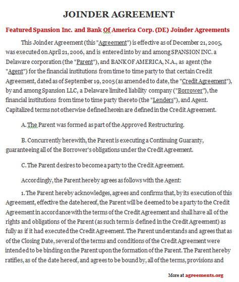 joinder agreement sample joinder agreement template