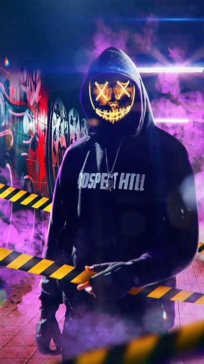 Mask Guy Neon Hoodie 4k Iphone Wallpapers