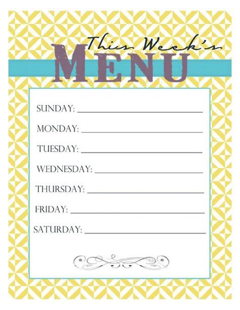 menu planner printables fab