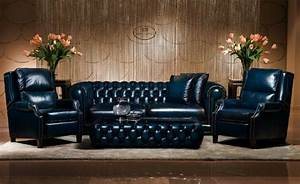 Luxury antique chesterfield leather sofa buy blue for Canape cuir de luxe