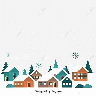 Village Cartoon Winter Illustration Vector Building Hand