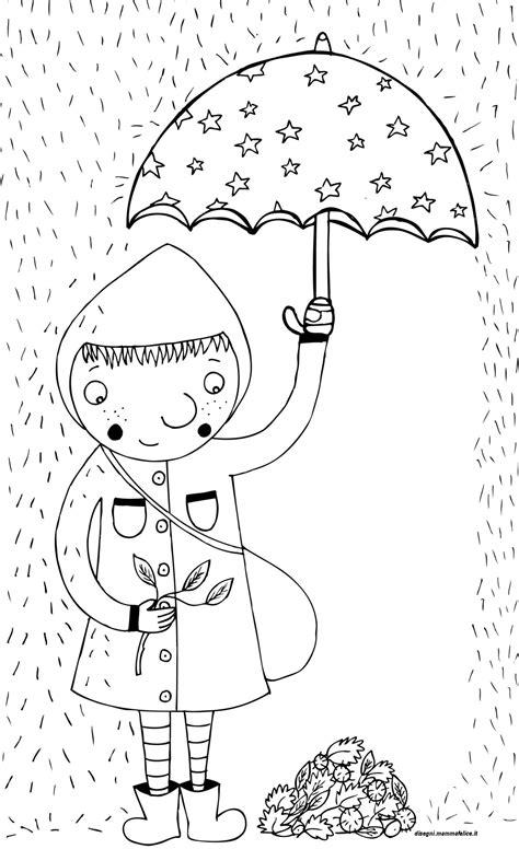 disegno da colorare  bimba sotto la pioggia migliori
