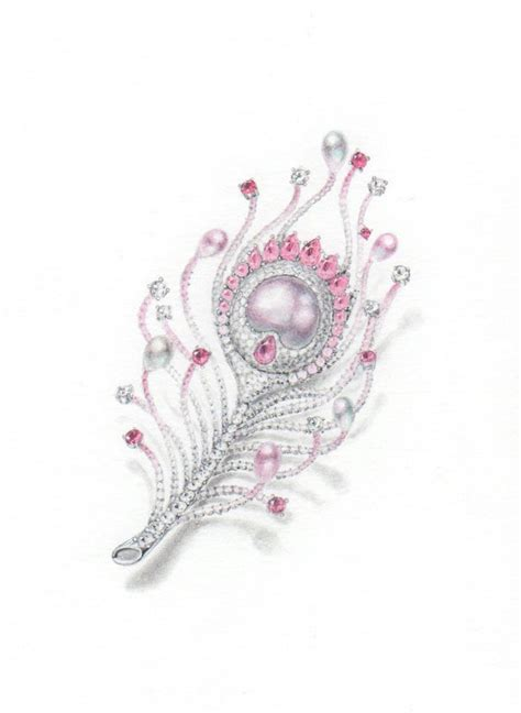 pink peacock feather brooch pencil and water color wooakim jewelry sketches