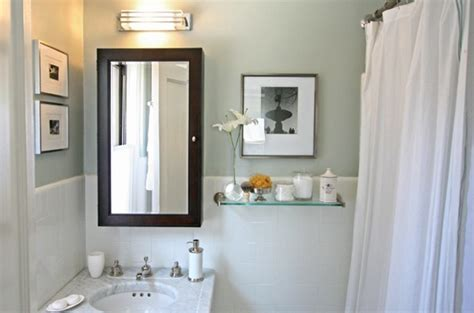 white green small bathroom design with pretty green blue walls paint color subway tiles