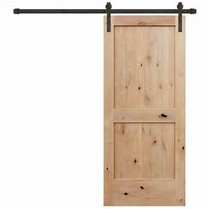door groove 28 in x 96 in knotty alder 2 panel top With 52 inch barn door
