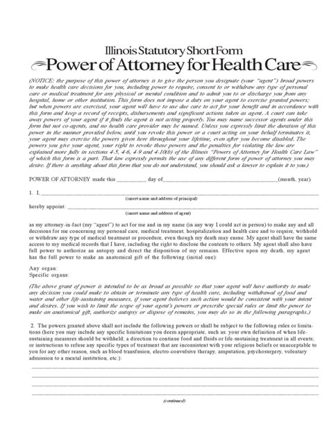 blank power of attorney form illinois illinois statutory short form power of attorney for health