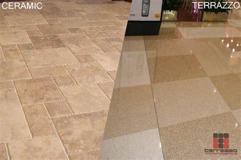 ceramic tile flooring vs terrazzo flooring system