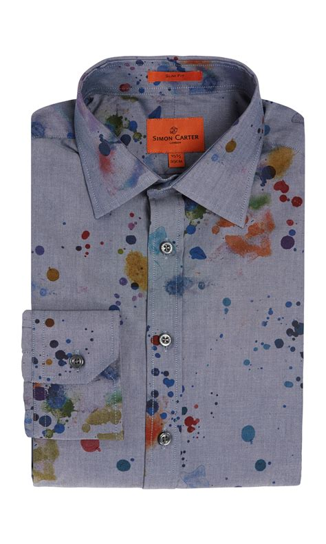 paint splatter shirt blue simon carter