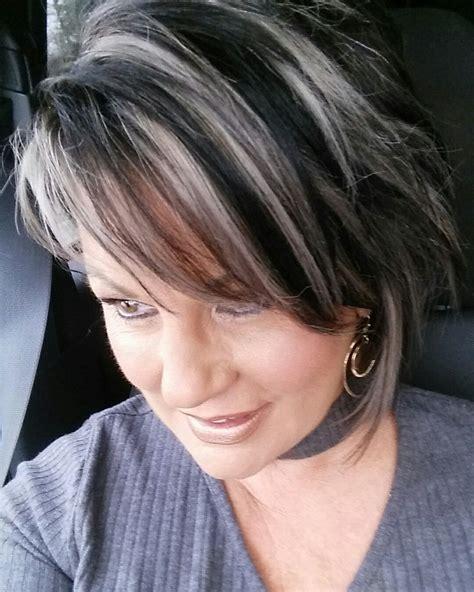 silver highlights pretty hair   brown hair