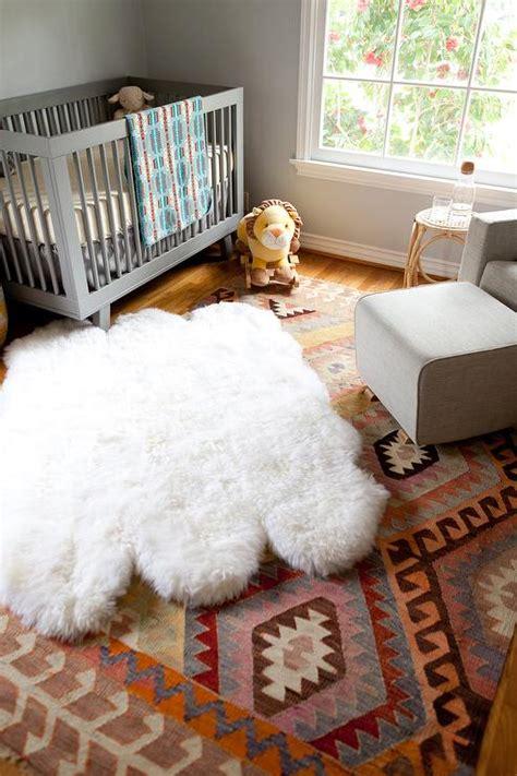 Nursery Sheepskin Rug by Layered Nursery Rugs Design Ideas