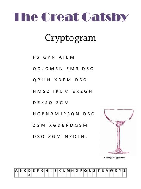 Free Halloween Brain Teasers Printable by The Great Gatsby Cryptogram