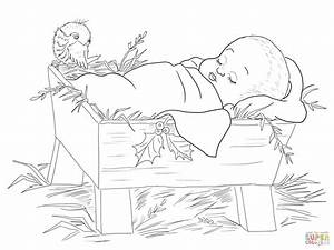 Baby Jesus In A Manger Coloring Page Free Printable
