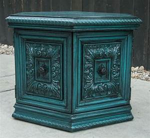 Modernly, Shabby, Chic, Furniture, Peacock, Blue, Side, Table