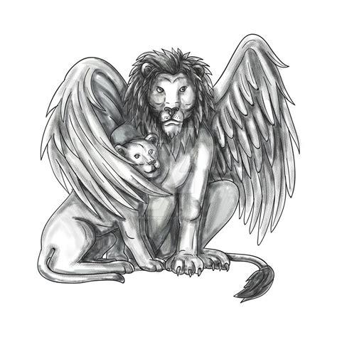 winged lion protecting cub tattoo  apatrimonio  deviantart