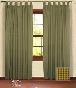 Cottage Green Minicheck Tab Top Window Curtain Panels