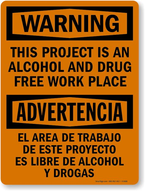 Free Workplace Sign Workplace Policy Sign Sku Warning Bilingual Free No Sign Sku S 8488