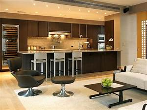 Open kitchen design with modern touch for futuristic home for Interior design for living room with open kitchen