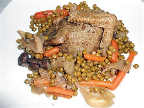 recette de pigeon sauvage au jus et petits pois carottes