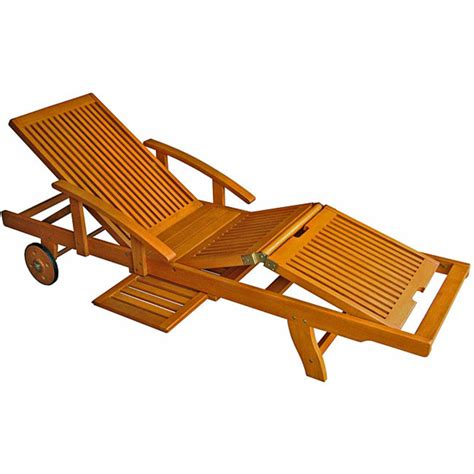 royal tahiti yellow balau wood large chaise lounge